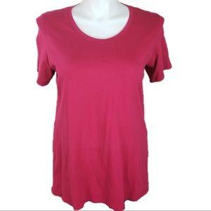 FLAX Pink scoop neck short sleeve Tee XL